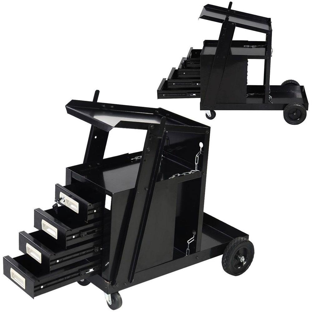 Welding Cart for MIG TIG Flux Welder Swivel Wheels 4 Drawer Cabinet Universal
